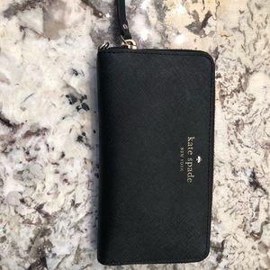 Kate Spade black zip-around continental wallet